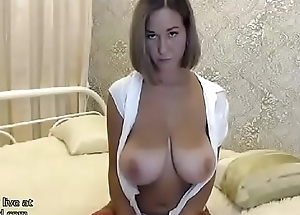 Colossal tits Milf in fishnet stockings