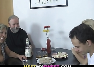 Old couple 3some sex with son'_s blonde gf