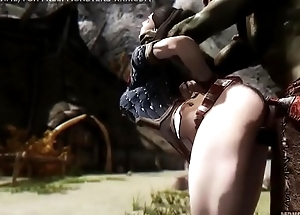 Doggy style anal fuck with massive 3d monster, skyrim