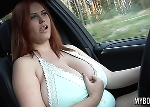 Busty Alexsis Faye drive BMW X5 showing and play with her huge natural boobs public
