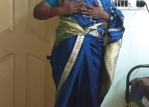 des indian horny cheating tamil telugu kannada malayalam hindi wife vanitha wearing blue predispose saree  showing big boobs and shaved pussy press hard boobs press nip rubbing pussy masturbation