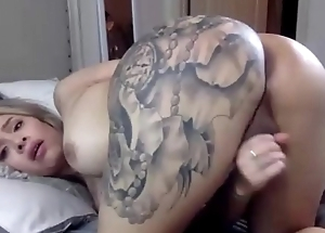 Blonde Tranny Stroking Her Cock And Shows Her Despondent Ass