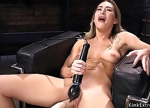 Blonde gets fucking machine forth pussy
