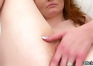 Nice girl is spreading yummy hole in closeup and having orgasm
