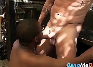 Nerdy black twink likes the taste of big white mature dong