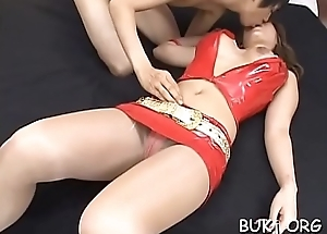 Lascivious playgirl stands and enjoys cum flowing on her outlook