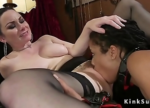 Ebony lesbian ass whipped before oral