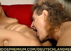 DEUTSCHLAND REPORT - German mature blondie Manuela sucking with the addition of riding dick like a slut