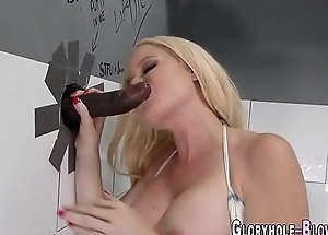 Busty blonde gives head