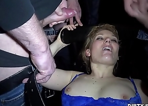 Cum slut Nicole gangbanged by 30 guys at a public bar