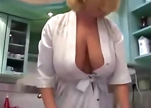 Blonde norsk mature in lingerie with big natura