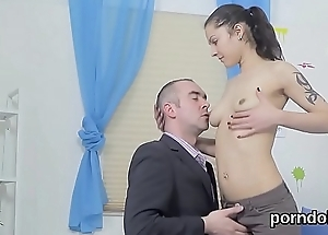 Sultry schoolgirl is seduced and shagged by elderly teacher