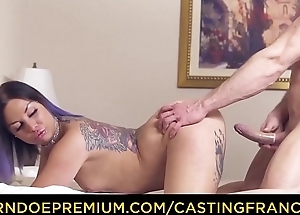 CASTING FRANCAIS - Tattooed newbie Mylee Cruz rides dick and eats cum