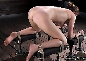 Hogtied babe squirting on the stagger