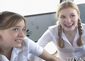 Cute schoolgirl fucked hard coupled with takes a large facial pluck fountain
