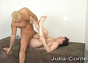 Horny Milf fucks Jean on the couch