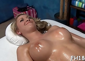 Cute sexy 18 year old gets drilled hard doggy position by her massage