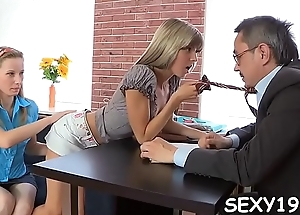 Concupiscent instructor is pounding angel at the kitchen counter