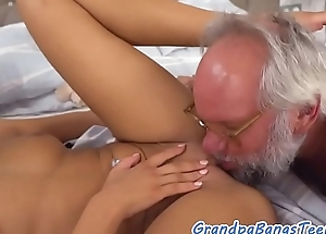 Titbit eurobabe jizzed in mouth by oldman