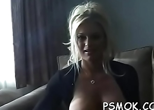 Elegant honey with great ass fingering her damp pussy