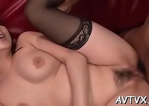 Lad fingers and toys japanese babe'_s hairy beaver