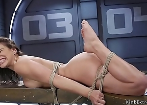 Subfusc in bondage fucking machine