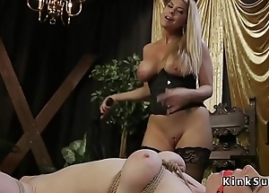 Blonde with tie in on fucked redhead