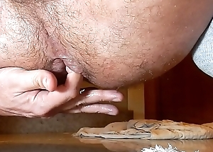 Playing with a lemon and cum