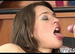 Agreeable babes enjoy pissing in their mischievous sex games