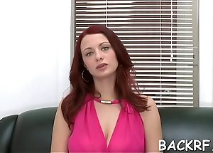 She takes off each piece of raiment to fuck at a casting