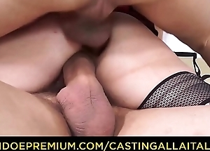 CASTING ALLLA ITALIANA - Newbie schoolgirl Valentina Palermo gets double drilled with respect to threeway