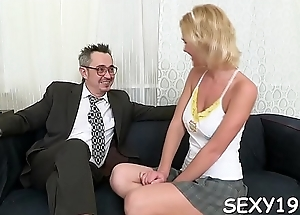 Benefactor is having hardcore couch sex with hungry old teacher