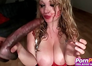 Crazy Whore Forces Giant Dildo Down Her Throat