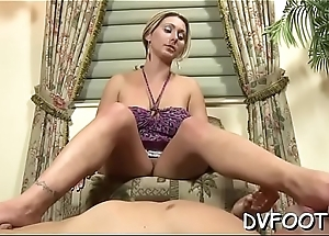 Hottie gets her hot feet licked whilst rubbing pussy
