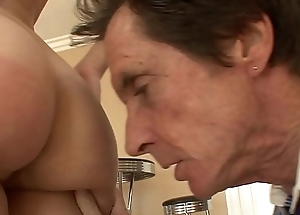 Fat step old man dick fills up  young girl Gracie Glam'_s pussy doggy style on couch
