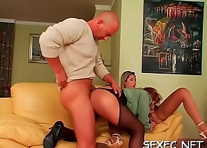 Exquisitely sexy chicks enjoy fully clothed sex with studs