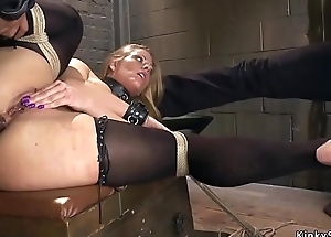 Four masters giving blonde anal training