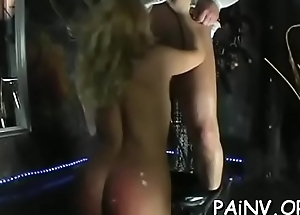 Extreme bondage play not far from old dude mistreating a slut