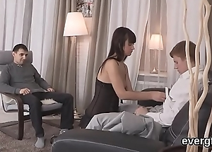 Penniless man allows hot friend to drill his lover for money